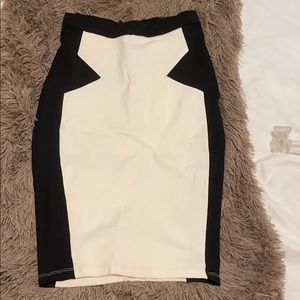 White and Black Pencil Skirt